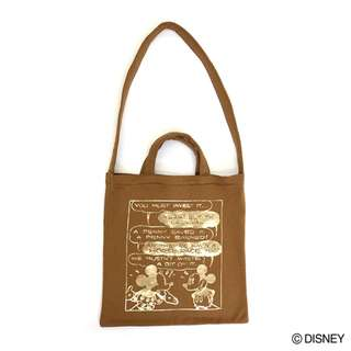 Japan Disney Accommode Disney Characters Beige Metallic Print Bag