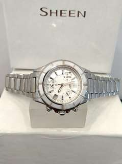 Brand New 100% Authentic Casio Sheen White Ceramic Bezel Ladies Chronograph Watch SHE-5516D-7A