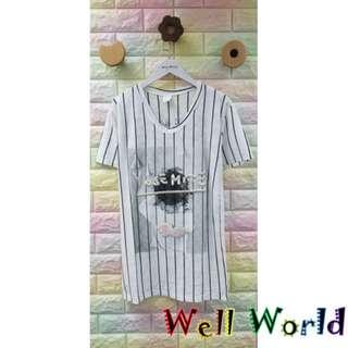 #1520 條紋刺繡凹凸字母幻彩天使翼圖案長款短袖T恤上衣 (韓國製造)