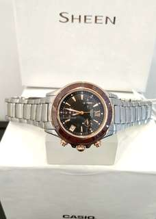 Brand New 100% Authentic Casio Sheen Brown Ceramic Bezel Ladies Chronograph Watxh with Rose Gold Trims SHE-5516SG-5A