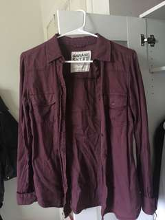 Garage Purple Button Up Blouse