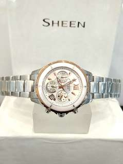 Brand New 100% Authentic Casio Sheen White Ceramic Bezel with Gold trims Ladies Chronograph Watch SHE-5516SG-7A