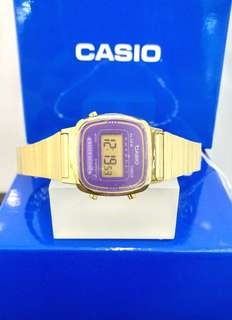 Brand New 100% Authentic Casio Ladies Basic Gold Watch with Purple Dial Digital Watch LA670WGA-6DF