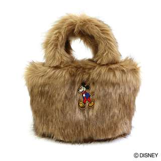 Japan Disney Accommode Mickey Mouse Beige Color Fur Tote Bag