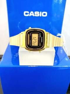Brand New 100% Authentic Casio Basic Ladies Gold PVD Watch with Black Dial Digital Watch LA670WEGA-1EF