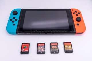 Switch + 4隻game + 配件及收納盒