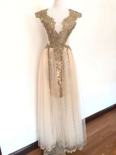 Sheer Cut Out Dinner/Wedding Gown
