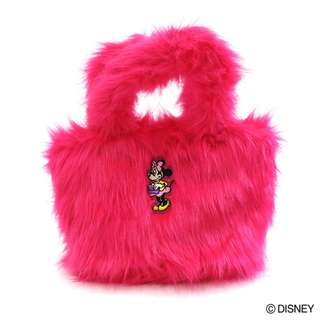 Japan Disney Accommode Minnie Mouse Pink Color Fur Tote Bag