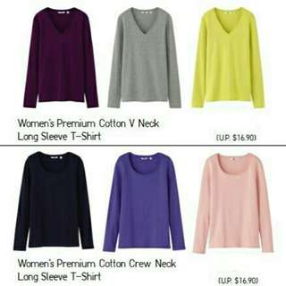 BNWOT Uniqlo Women Premium Cotton Crew Neck Long Sleeve T-Shirt Purple