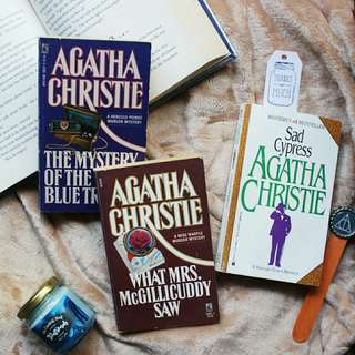 Sad Cypress + What Mrs. McGillicuddy Saw + The Mystery of the Blue Train by Agatha Christie (SOLD AS SET)