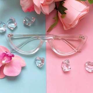 Retro half frame glasses