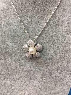 No:0613. 925純銀包K金,鑲CZ+天然淡水水滴形珍珠8mm吊墜