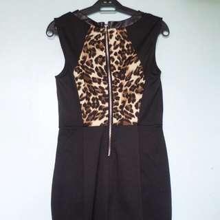 Curvey Animal Printed Black Dress