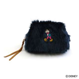Japan Disney Accommode Mickey Mouse Navy Color Fur Pouch
