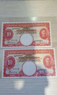 $10-1941-malaya 2pcs running original AU.100%NO WASH NO PRESSED .