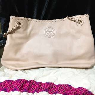 Tory Burch Marion Chain Slouchy Tote Light Oak