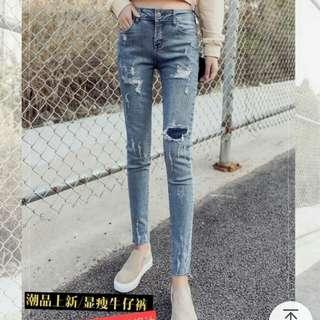 九分小腳時尚破洞貼布鉛筆牛仔褲
