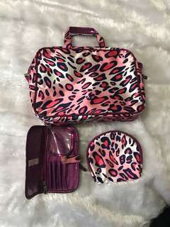 Pink Leopard Print Makeup / Toiletries Bags
