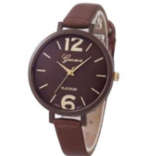 Geneva Faux Leather Analog Quartz Watch