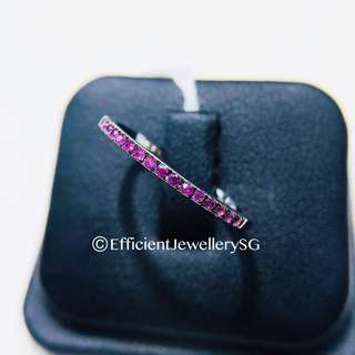 18K 750 Half Eternity Pinkish Ruby Ring