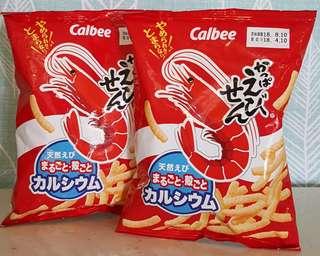 🚚 現貨 日本calbee蝦味先 加樂比蝦棒 蝦餅 90克