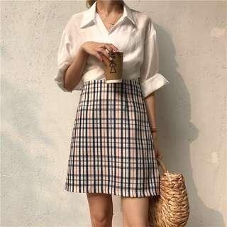 🇰🇷 Korean Ulzzang Plaid Checkered Skirt
