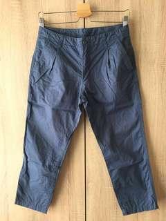 🚚 🏅Muji 無印良品 藍色 藍灰色 八分褲 九分褲 打褶褲