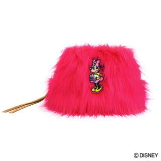 Japan Disney Accommode Minnie Mouse Pink Color Fur Pouch