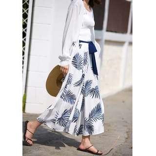 2018夏季女裝新款印花綁帶高腰闊腳褲