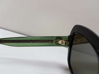 Gucci GG0036S Black Green Brown Sunglasses used authentic