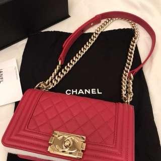 Chanel boy 20cm桃紅色淡金鏈