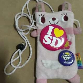 🚚 粉紅色布偶手機隨身背袋包 隨身包 收納包