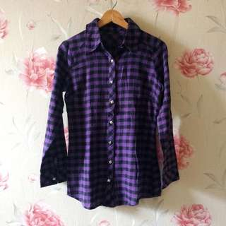 Purple Flanel Plaid Shirt