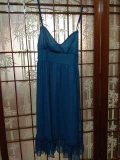 🚚 藍色細肩洋裝 低調性感
