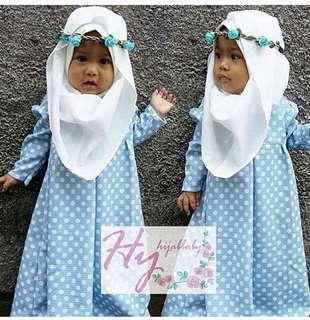 Hijab baby polkadot (blue) (toska) (pink) Rp85.000 Matt katun polka motif asli utk 2-4th Ld62 pj65 free jilbab katun, no bandana
