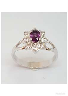 Rhodium plated Ring with Dark Amethyst & clear crystals.