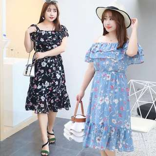 DXFA066 Plus Size Floral Off Shoulder Dress