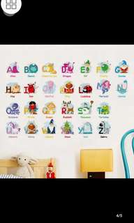Cartoon Animal English Letter Wall Stickers Baby Children's Room English Early Learning Decorative stickers Nursery Wall Stickers diy home decor