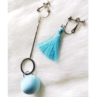 🚚 【夾式耳環】蘭拳繡腿-藍色流蘇+簡約