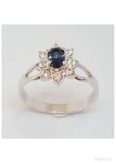 Rhodium plated Ring with Dark Sapphire  & clear crystals.