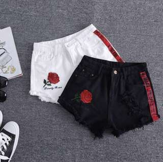 Rose embroidery ripped shorts