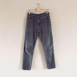 🚚 古著復古高腰中藍牛窄褲