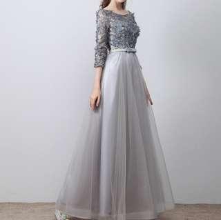 Grey 3/4 sleeve long dress / evening dress instock