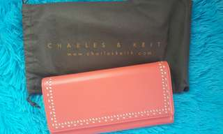 Charles and Keith Pink Leather Wallet