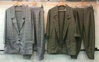 Zara plaid set pants + blazer / atasan bawahan