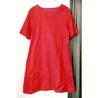 (免運)全新#紅白點點短袖棉麻洋裝