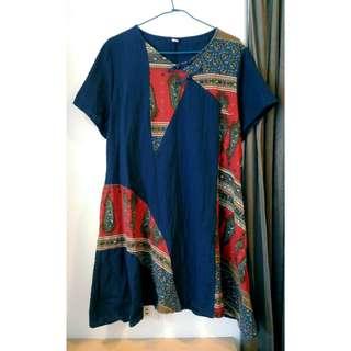 (免運)藏青色民族風短袖棉麻洋裝