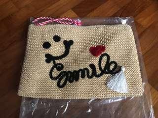 Crochet Brown Straw Pouch