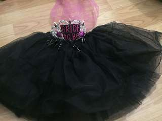 Bride to be - Pink Headband & black skirt