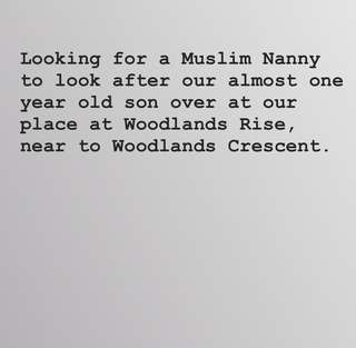 LOOKING FOR PART TIME MUSLIM NANNY/BABYSITTER